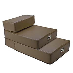 Weebo Pets Set of 2 Smooth Steps Folding Leather Pet Stairs (Brown) Click on image for further info.