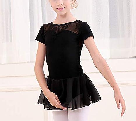 iiniim Robe de Danse Ballet Latine Enfant Fille Dentelle Courte Robe de Sport Yoga Patinage Pilates Justaucorps Gymnastique Gym Maillot de Bain Costume Natation 2-12 Ans