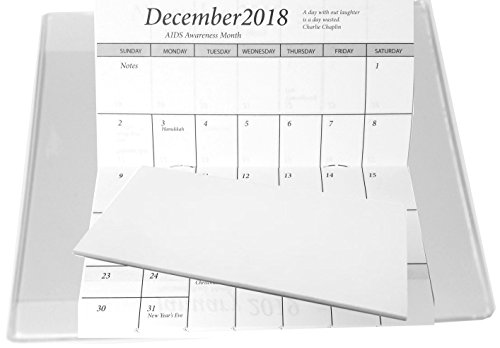 Plastic Refill Calendar - 2019-20 Pocket Calendar Planners w/Covers, Cards Stock & Note Pad