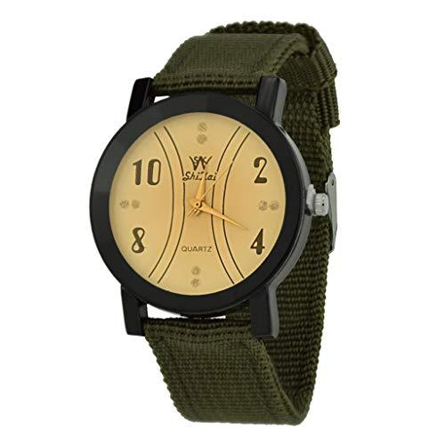 NXDA Women's wrist watch multi-color nylon strap quartz mechanical watch light yellow time double analog dial (Army Green)