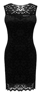 Héloïse de Sy Women's Sleeveless Full Lace Bodycon Little Cocktail Party Dress