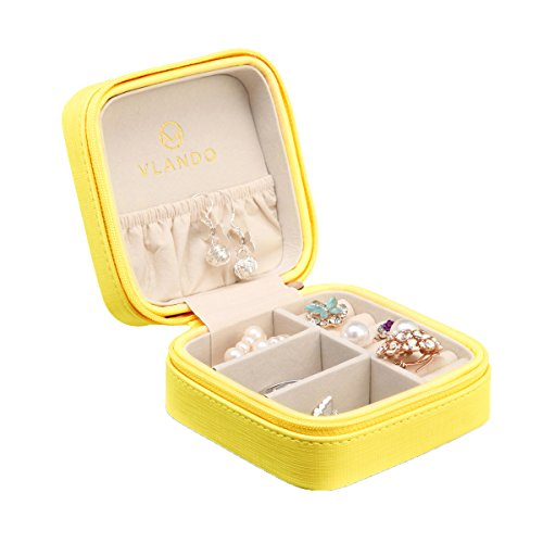 Gift Earring Boxes Leather (Vlando Small Travel Jewelry Box Organizer - Faux Leather Storage Case for Rings Earrings Necklace - Best Gifts Choice for Girls Women (Yellow))
