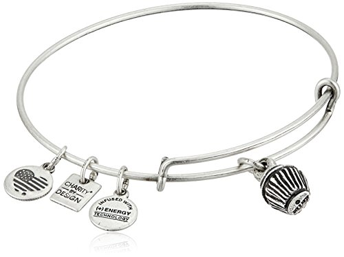 Alex and Ani Charity By Design Cupcake Rafaelian Silver Bangle Bracelet made in Rhode Island