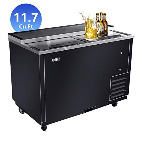 Commercial Deep Well Horizontal Bottle Cooler - KITMA 50 Inches Beer Coolers for Bottles for Restaurant Bar, 33°F - 38°F from KITMA