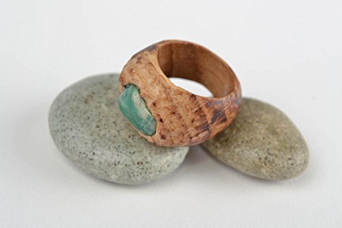 Carved Ring Designer (Beautiful Handmade Designer Carved Wooden Ring With Natural Stone Stylish)