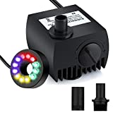 Submersible Water Pump - Maxesla 80 GPH (300L/H) Mini Electric Fountain Water Pump with 12 LED Light and 2 Nozzles, Quiet Water Pump for Pond/Aquarium/Fish Tank/Statuary with 4.92ft (1.5M) Power Cord