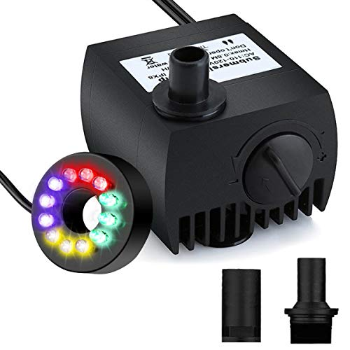 (Maxesla Submersible Water Pump 80 GPH (300L/H) Mini Electric Fountain Water Pump with 12 LED Light and 2 Nozzles, Quiet Water Pump for Pond/Aquarium/Fish Tank/Statuary with 4.92ft (1.5M) Power Cord)