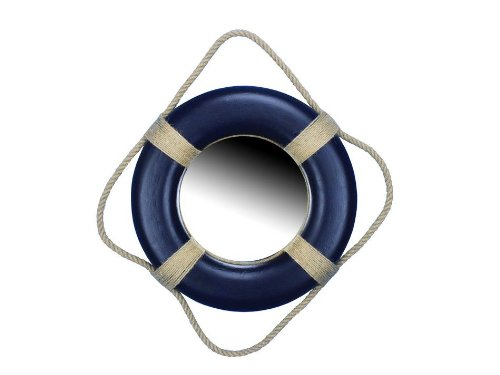 Hampton Nautical  Decorative Blue Lifering Mirror, 15