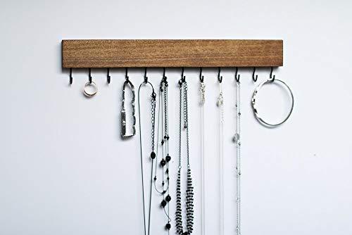 - Dark Walnut Wood Wall Mount Jewelry Organizer/Necklace Handmade Holder Hooks Key Holder Hanging Stand Rustic Decor/Best gift idea / 12 black hooks on bottom