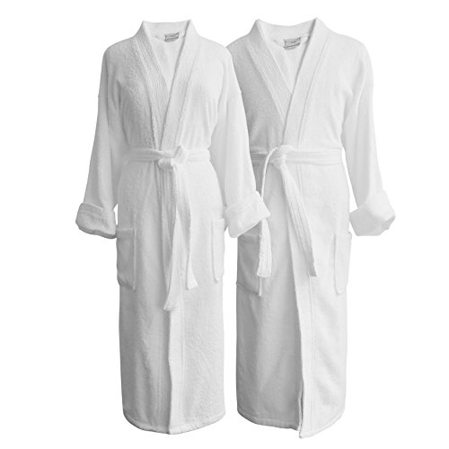 Bride & Groom Terry Cloth Bathrobe Set -100% Egyptian Cotton-Unisex/One Size Fits Most-Luxurious,Soft,Plush,Elegant Script Embroidery- Luxor Linens (One Size with Gift Packaging, Custom Monogram)