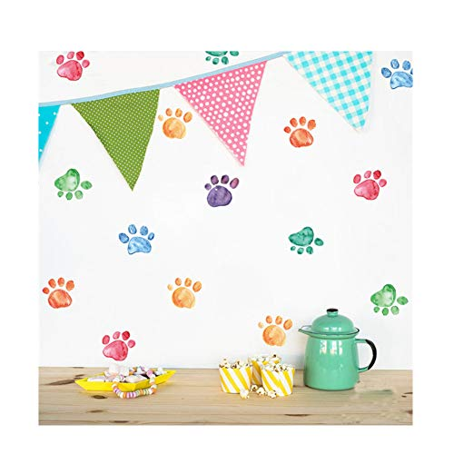(VanBest Colorful Paw Prints DIY Wall Sticker Removable Vinyl Decals Home Kid's Room Creative Wallpaper Mural Art Decorations)