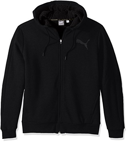 PUMA Men's Sherpa Full Zip Hoody, Cotton Black, Large