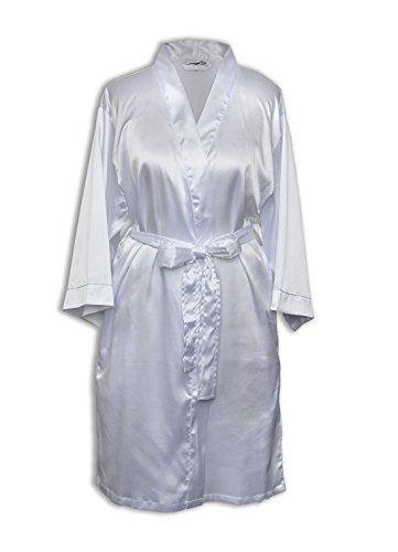 TowelBathrobe TowelRobes Women's Kimono Satin Robe Satin Lounge Bridesmaids Short Robe White Large by TowelBathrobe