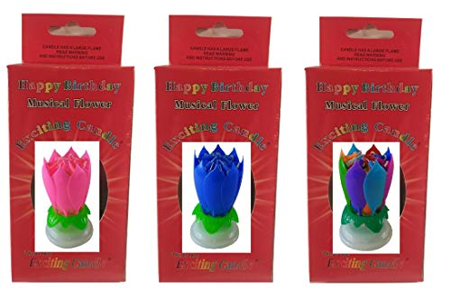Price comparison product image Birthday Candle Three Pack (Pink Blue and You Choose) (Pink Blue Rainbow)
