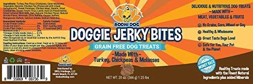 Premium Healthy Dog Jerky Treats | Grain Free Turkey Dog Treat Bites | Natural Snack Made with Turkey, Chickpeas & Molasses | No Corn, Wheat or Soy