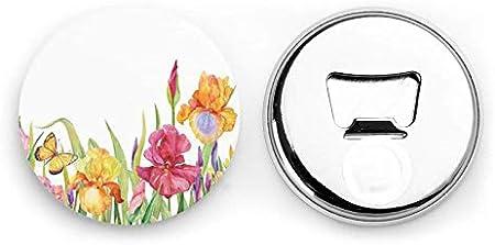 Iris Flower Butterfly Abrebotellas redondos / Imanes de nevera Sacacorchos de acero inoxidable Etiqueta magnética 2 piezas