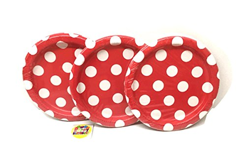 Red Polka Dot Dessert Plates - 24 Pieces