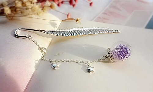 Comfspo Metal Bookmarks Silver Feather Page Mark With A Chain and Gypsophila (Baby's Breath) Ball Best Present For Bithday and Souvenir