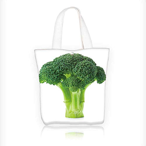 (Canvas Shoulder Hand Bag broccoli isolated on white background Tote Bag for Women Large Work tote Bag Shoulder Travel Totes Beach Bag W11xH11xD3 INCH)