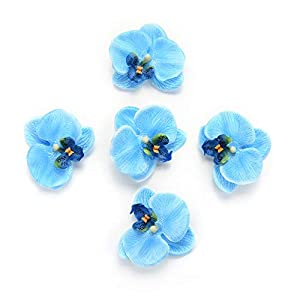 Fake flower heads in Bulk Wholesale for Crafts Outdoor Fashion Orchid Artificial Flowers DIY Butterfly Orchid Cloth Fake Flowers Bouquet Party Wedding Decoration Artificial Flowers 30pcs 6.5cm (Blue) 1