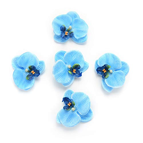 Fake flower heads in Bulk Wholesale for Crafts Outdoor Fashion Orchid Artificial Flowers DIY Butterfly Orchid Cloth Fake Flowers Bouquet Party Wedding Decoration Artificial Flowers 30pcs 6.5cm (Blue)