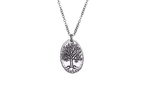 TEAMER Collar con Colgante de árbol de la Vida con Forma Ovalada ...