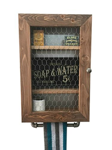 New Primitive Country Rustic Farmhouse Wood Crate Box Chicken Wire Shelf Cabinet
