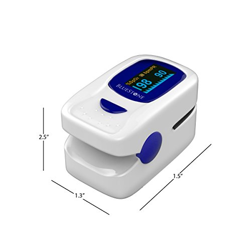 Finger Pulse Oximeter and Heart Rate Monitor- Portable Blood Oxygen Level and Heart Rate Fingertip Sensor with Carrying Case and Lanyard by Bluestone