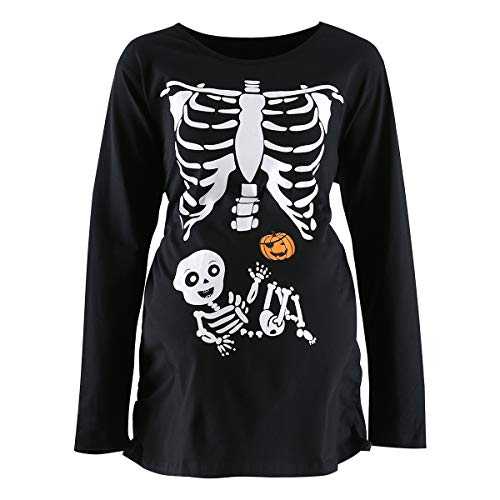 Lorjoy Women's Maternity Funny Halloween Skeleton Costume Pregnancy