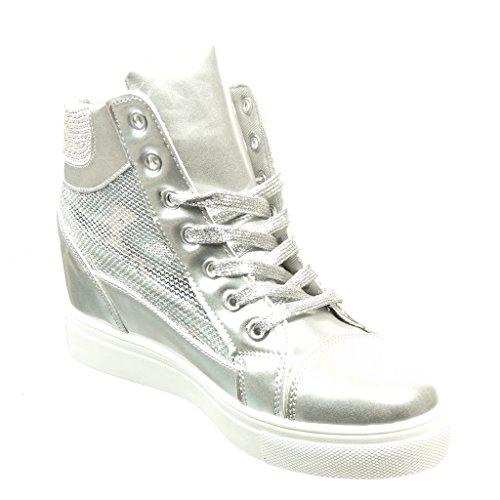 Angkorly - Scarpe da Moda Sneaker Zeppa donna strass verniciato lucide Tacco zeppa 6.5 CM - Argento