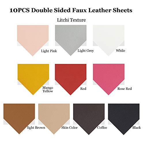 10pcs Metallic Faux Leather Sheets + 10pcs Double Sided Litchi Synthetic Leather Fabric Sheets(6''x 6'') with 140pcs Earring Hooks, 140pcs Jump Rings, Pliers and Cut Molds for Earring Making Crafts by SIMPZIA (Image #2)
