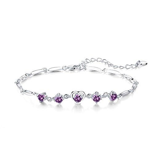 Majesto 925 Sterling Silver Purple Heart Pendant Necklace Stud Earrings Bracelet Set For Women Teens Girls by Majesto (Image #4)