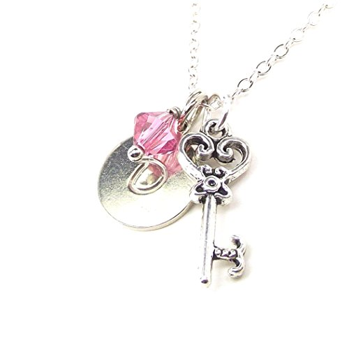 Personalized Key to My Heart Initial Necklace with Swarovski Elements Birthstone Crystal Custom Valentines Day Birthday Jewelry Gift in Silver Plated