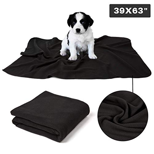 (CHEE RAY Puppy Dog Cat Fleece Warm Blanket, Pet Soft Sleep Bed Cover for Kitten Small Animals-Black, 39.4x63)