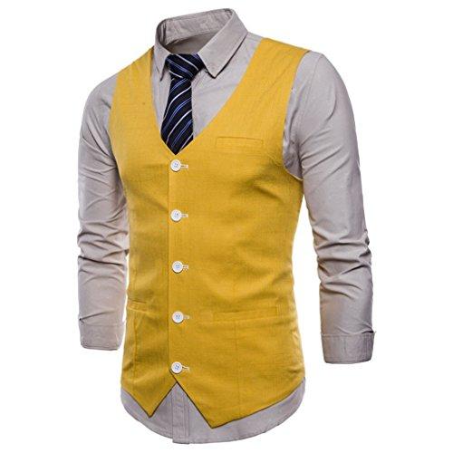Mode Plus De Social Manches Jaune Lin La Taille Gilet Sans Business Hommes Slim 9 Couleurs Solide Juleya CwPXqvw