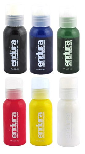 Endura Airbrush Body Art Paint Set in 6 Primary Colors (1 oz Bottle Set)