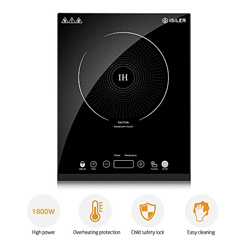Portable Induction Cooktop, iSiLER 1800W Sensor Touch Electric Induction Cooker Cooktop with Kids Safety Lock, Countertop Burner Suitable for Cast Iron, Stainless Steel Cookware