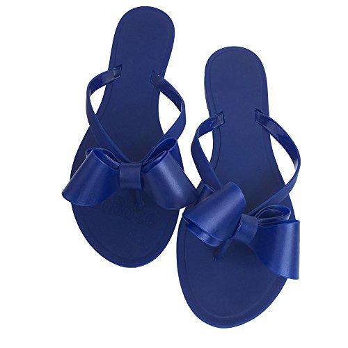 Mtzyoa Women Stud Bow Flip-Flops Sandals Beach Flat Rivets Rain Jelly Shoes Blue
