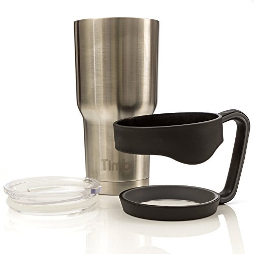 Timbr Tumblers Vacuum Insulated Stainless Steel Travel Tumbler ~ Spill Proof BPA Free Lid ~ Black Easy-Off Removable Handle (30 Oz)