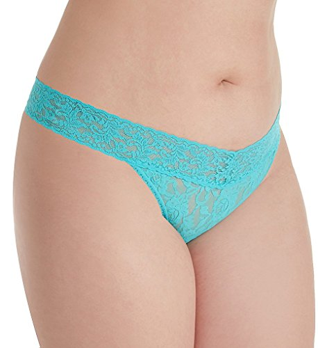 Perfectly Fit With Lace Thong (Hanky Panky Plus Size Signature Lace Original Rise Thong, One Size, Seafoam)