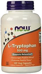 NOW L-Tryptophan 500 mg,120 Veg Capsules