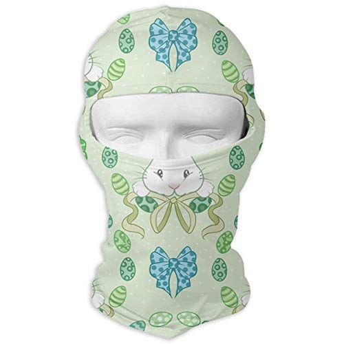 Wind-Resistant Balaclava Hood, Easter Bunnies Green Ski Mask