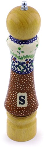 - Polish Pottery 8¼-inch Salt Grinder (Country Berries Theme) Signature UNIKAT + Certificate of Authenticity