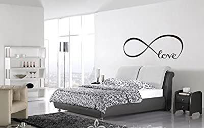Wall Decal of Love Personalized Infinity Symbol Bedroom Wall Decal Bedroom Decor Quotes Vinyl Wall Stickers with 5 Butterflies
