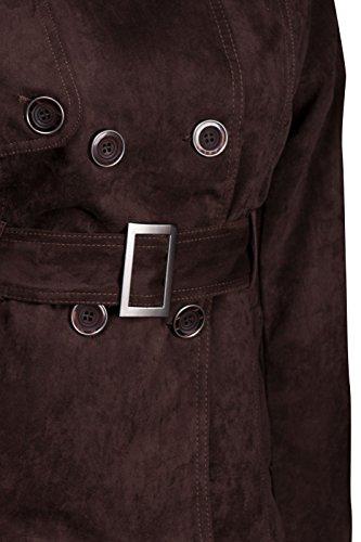 Lujo Mujer Chaqueta gabardina antelina abrigo S M L marrón