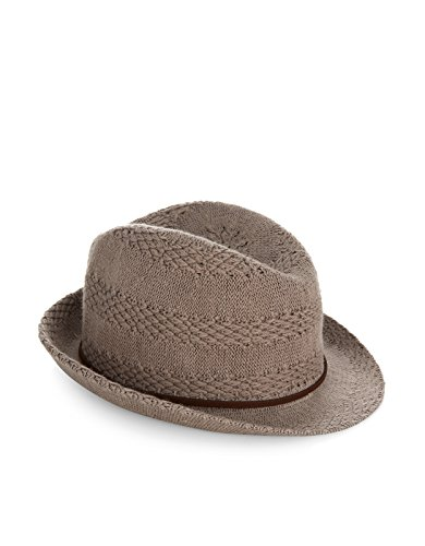 Accessorize Womens Pointelle Packable Trilby Hat Size One Size Grey