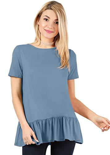 (Denim Shirt for Women Reg and Plus Size Denim Shirt Ruffle Top Peplum Blouse Flowy Tops Blue Shirt (Size Medium US 6-8, Shadow Short Sleeve) )
