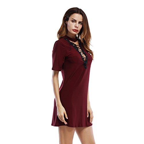 L Des Robe Sexy D'été Dentelle West Red V Courte Robes couleur Col Maroon Femmes Taille En Les Deep Slim TxEg4qw