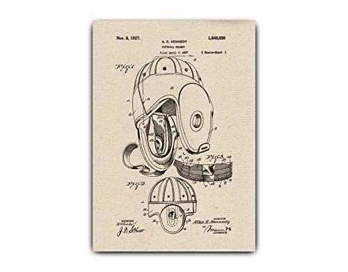Football Helmet Drawings Patent, Wall Hanging, Gift Idea - Vintage Poster on Canvas, Home Office Decor, Football-helmet-001 ()