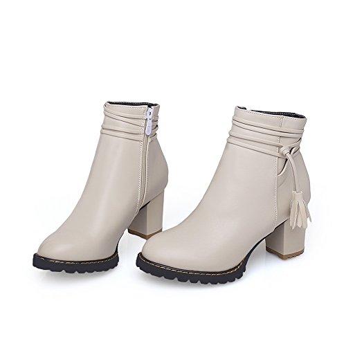 Leather Womens Boots Heels BalaMasa Imitated Tassels Beige Zipper Chunky YRqqxTd
